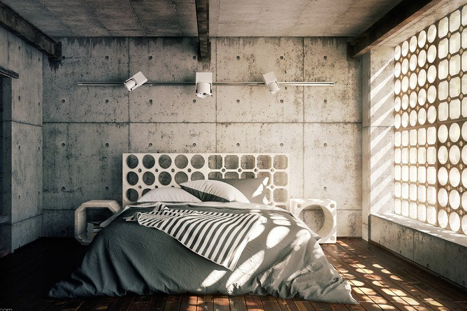 Interior kamar industrial dengan dinding beton dan roster