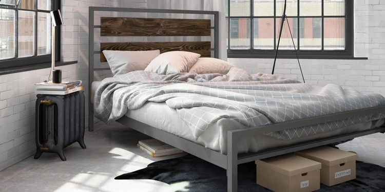 interior kamar tidur industrial lembut