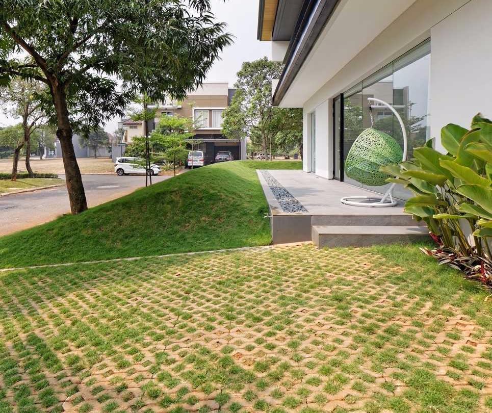 Carport Minimalis Grass Brick