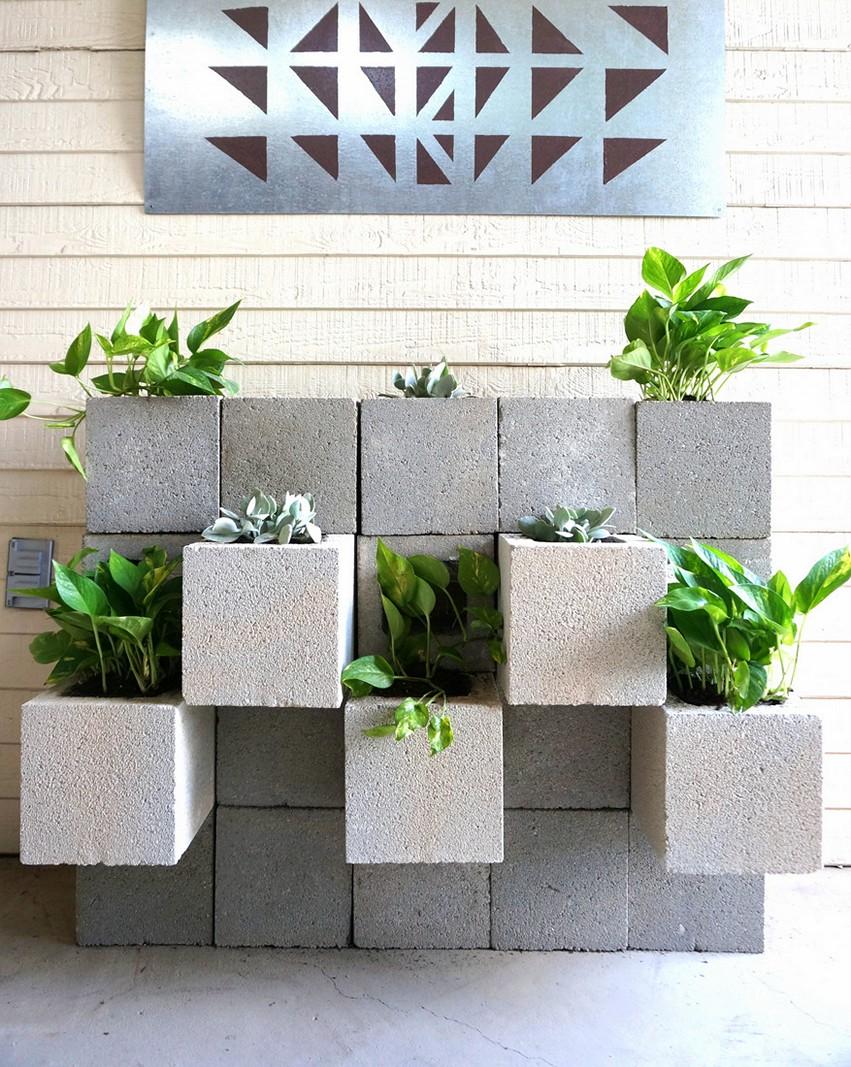 Cinder Block Planter Teras Minimalis