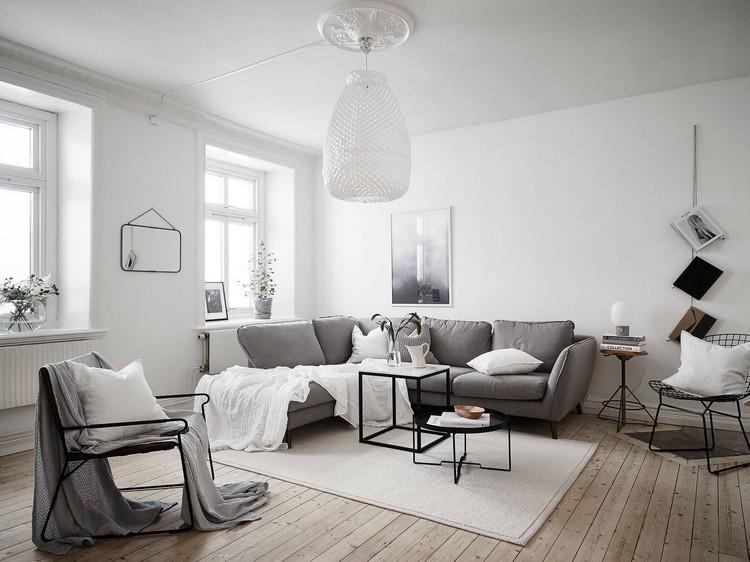 Model ruang tamu bergaya Skandinavia