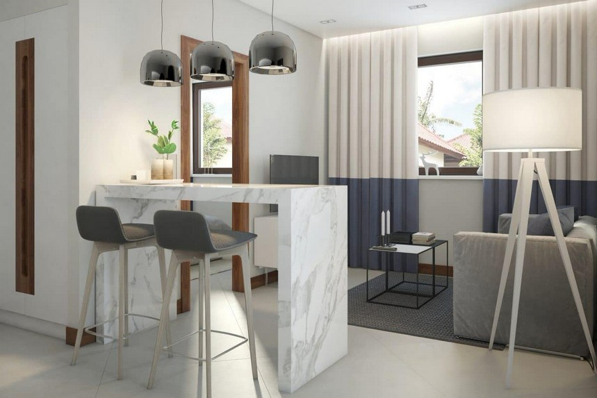 Meja bar minimalis dengan permukaan marmer