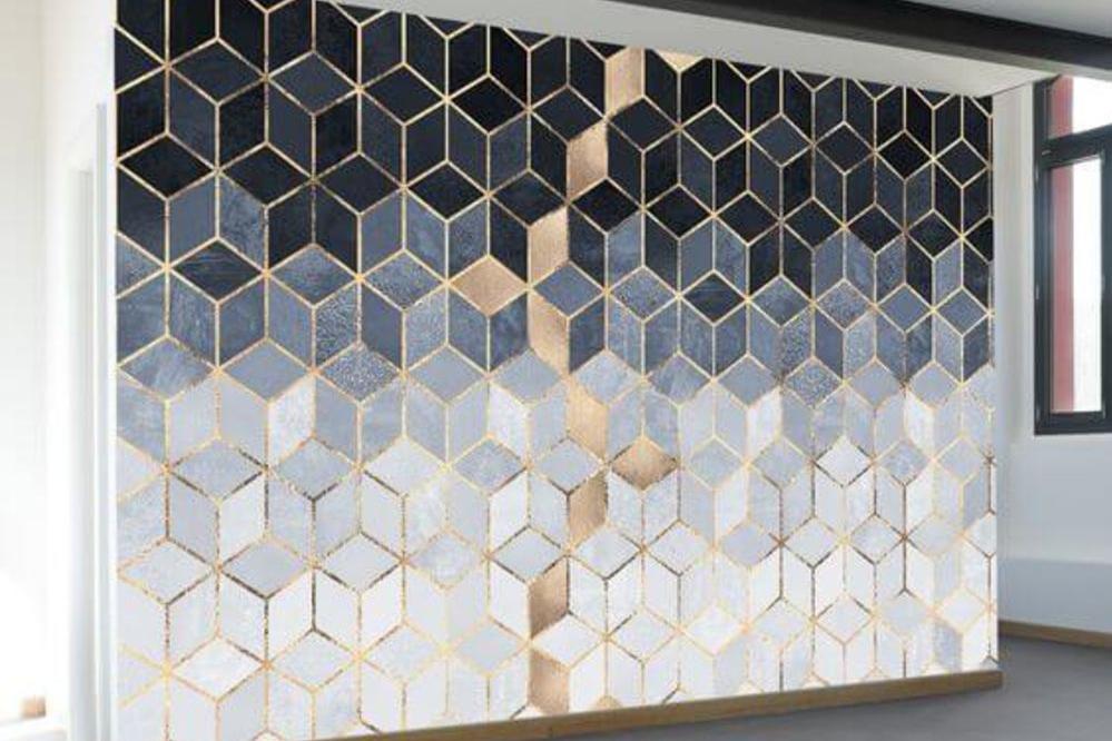 lukisan dinding geometris