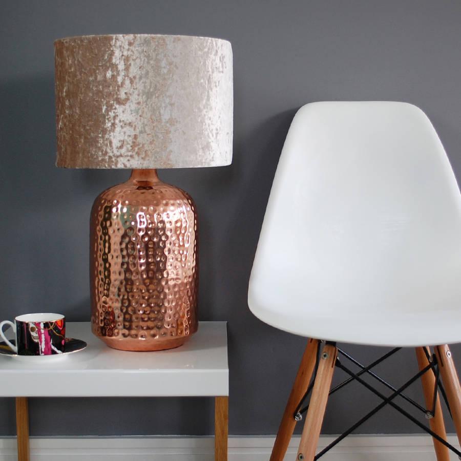 Lampu meja rose pink bahan velvet