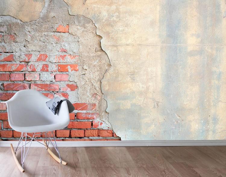 Secuil bata ekspos di dinding semen
