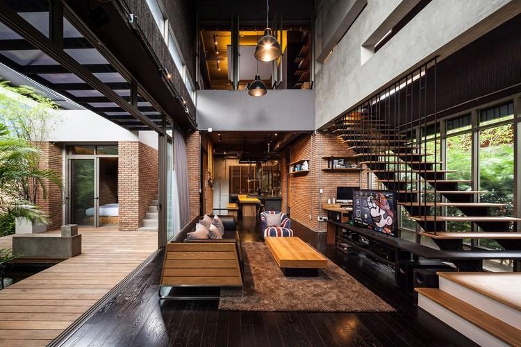 Desain rumah minimalis dua lantai industrial