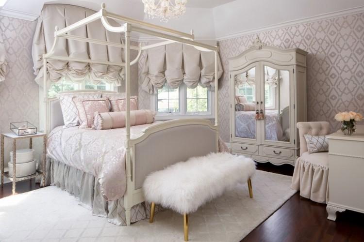 Desain kamar tidur utama yang lembut untuk kepribadian feminin