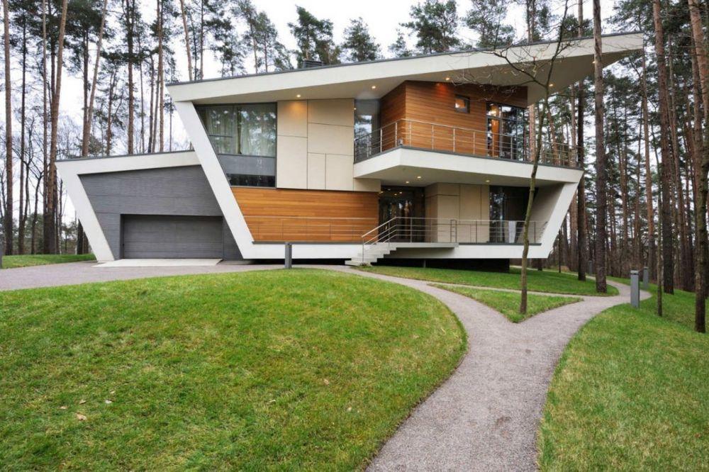 Rumah Kontemporer dengan Elemen Garis yang Dinamis