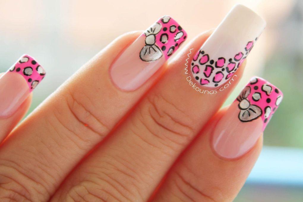 Decoracion de uñas animal print y moño2-2
