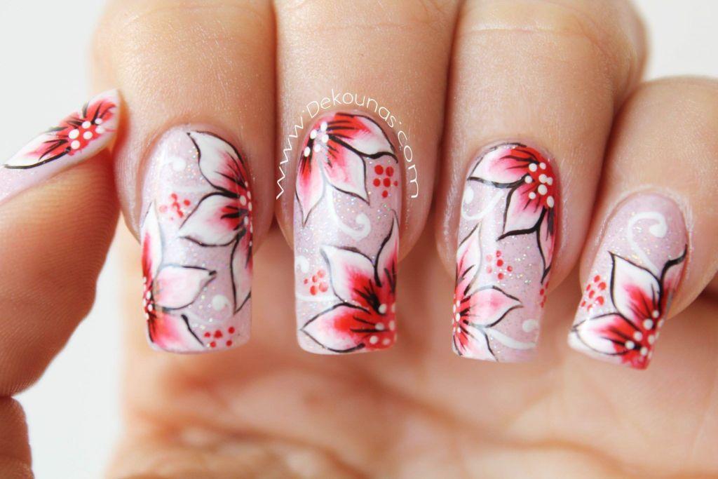 Decoración de uñas flores rojas 4-4