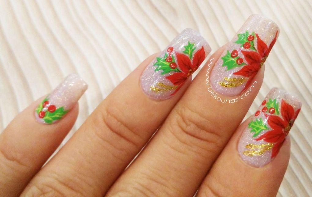 Decoación de uñas flores navideñas2-2