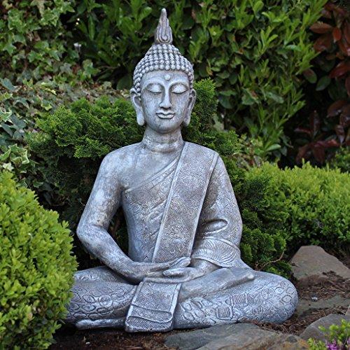Buddha Statue Gro 65cm Sitzend DekoFigur Fr Wohnzimmer Oder Garten Skulptur XL
