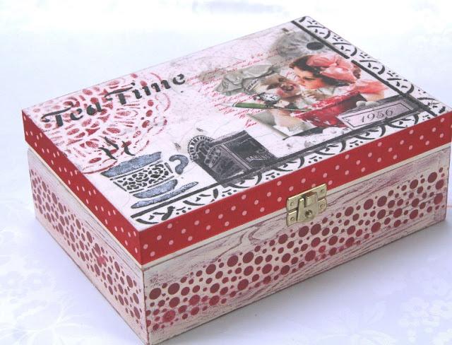 warsztaty decoupage'u, pudełko na herbatę