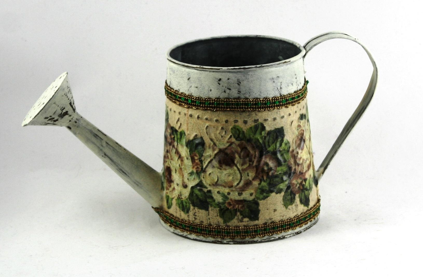 decoupage - konewki metalowe stare roze