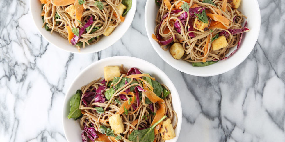This udon noodle dish works with pretty much any vegetable in your fridge. Bonus: Udon noodles cook in five minutes flat. Get the recipe from Delish.