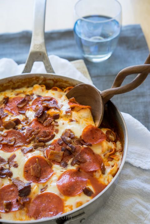 Pepperoni on pasta = genius. Get the recipe from I Wash...You Dry.