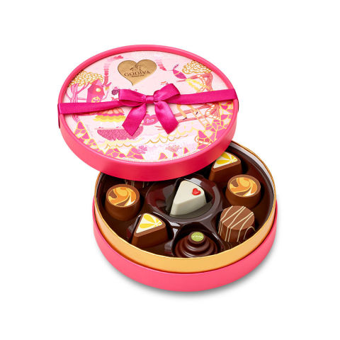Godiva's newest V-Day box combines your two great loves (no, not whoever you're dating/married to/Facebook stalking): chocolate and cake. Each treat's inspired by famous confections from around the world, like strawberry shortcake, Sacher Torte, creme brulee and lemon cheesecake. Godiva stores and online, $30