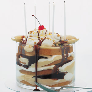 Instead of cake and ice cream, try a Father's Day dessert inspired by both. This gooey trifle overflows with layers of vanilla cake, vanilla pudding, whipped cream, bananas, and drippy chocolate sauce.<br /><br /><br /><br /><br /><br /><br /> Recipe: Banana Split Cake<br /><br /><br /><br /><br /><br /><br />