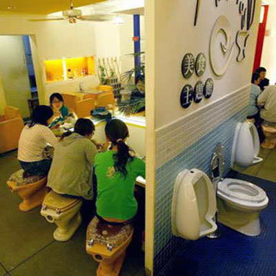 Restaurant: Modern Toilet, Taipei, Taiwan Culinary Concept: Bathroom themed. If you're into poop jokes (and can get over the gross-out factor), then you will find this toilet-themed restaurant plenty entertaining. Guests slurp up Asian noodles from commode-shaped bowls while sitting on their very own can. Keep the seat down.