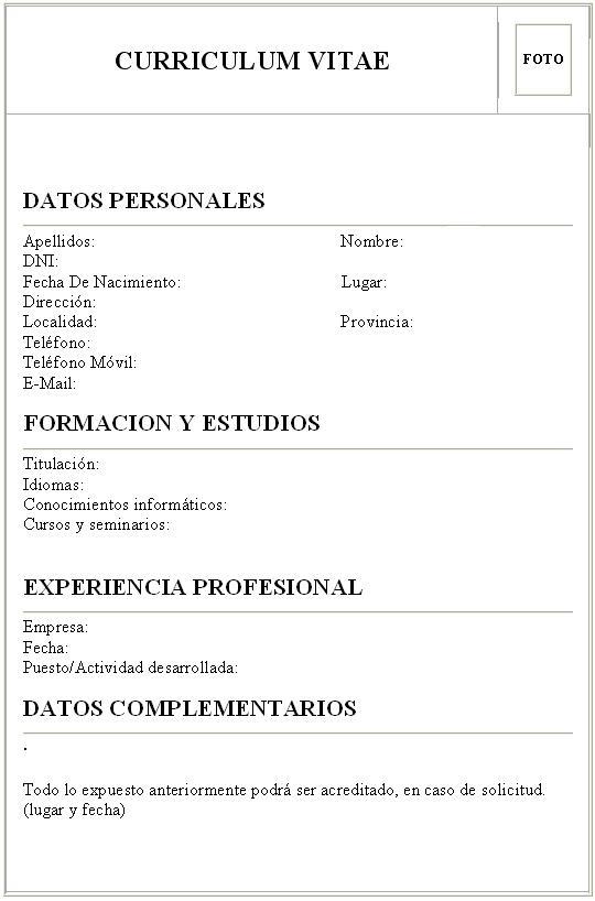 Curriculum Vitae Nominativo Modelo Sample Resume Service