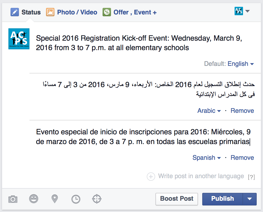 Facebook Multilingual Posts and Other Hidden Gems