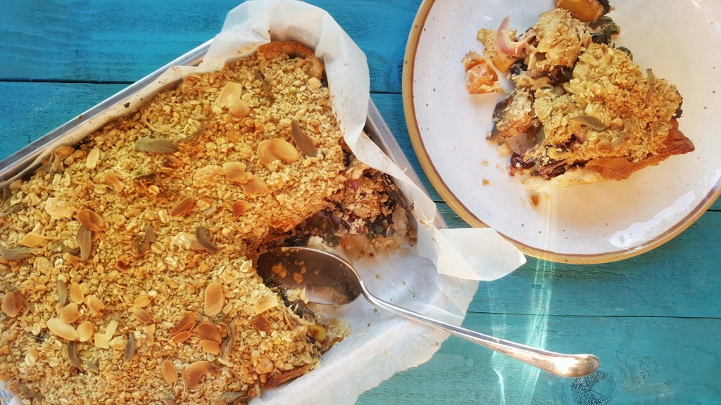 Aubergine & Sweet Potato Crumble Pie; Delalicious