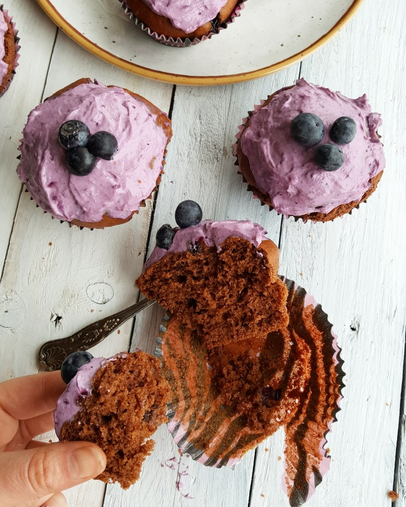 Double Chocolate & Blueberry Muffins; Delalicious