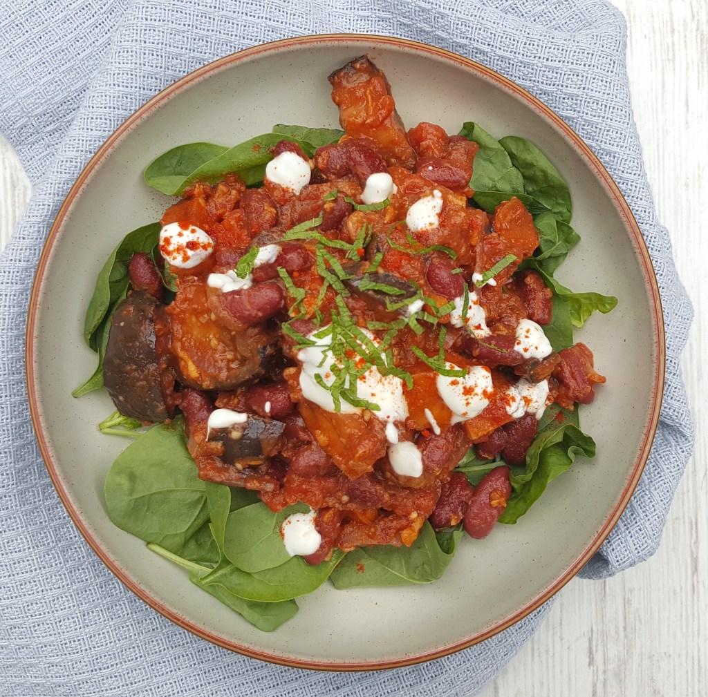 Aubergine, Bacon & Bean Tomato Stew; Delalicious