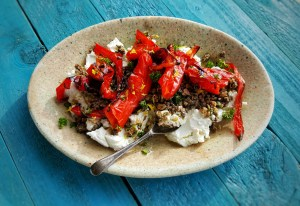 Labneh with Roast Red Peppers & Olive Relish; Delalicious