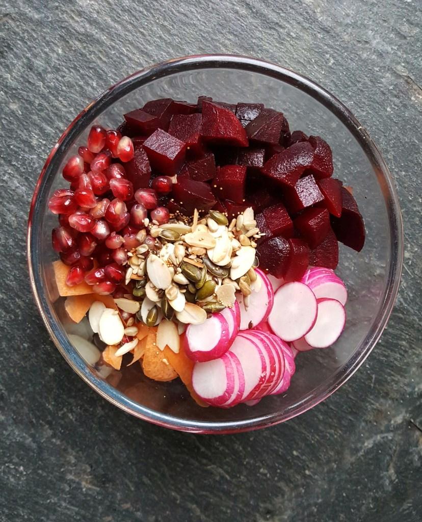 Pomegranate, Beetroot, Carrot & Radish Salad; Delalicious; Sinead Delahunty