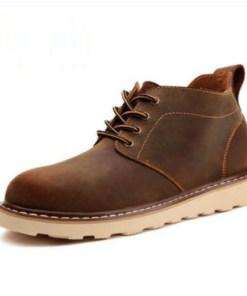 Зимние мужские кожаные ботинки. Модель 04153 темно-коричневый, без меха