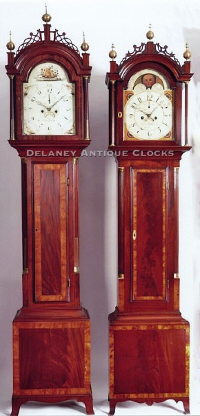 Wooden Wall Clock Simon Willard Of Roxbury, Massachusetts. A Cross Banded