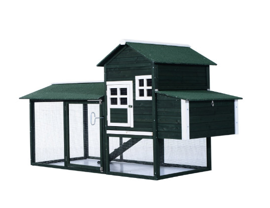 """PawHut 83"""" Wooden Backyard Chicken Coop with Covered Run and Nesting Box"""