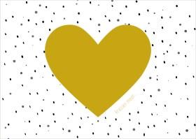 Blanco kraskaart met hart van goud