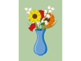 Wenskaart Vaas met bloemen