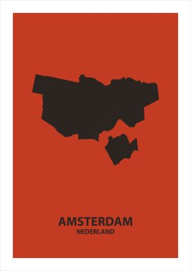 Abstracte stadsposter Amsterdam