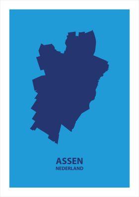 Abstracte stadsposter Assen