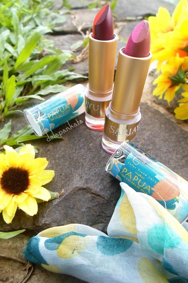 Duo Lipstick Sariayu Inspirasi Papua (kanan) Tipe P03 dan (kiri) Tipe P02