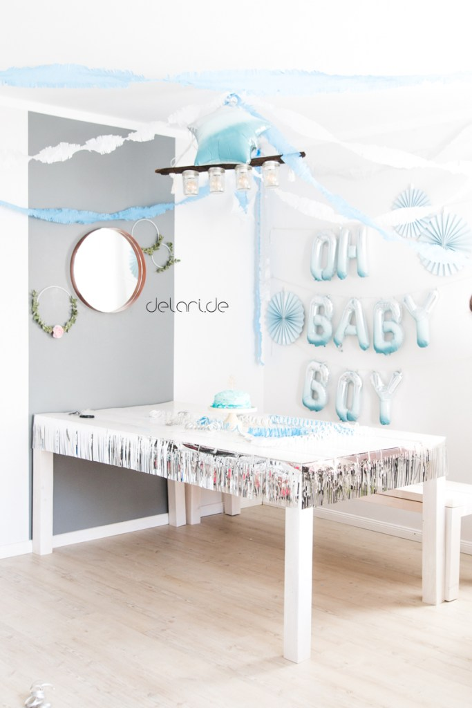 Babyshower Boy blue DIY Folienluftballons Party Kreidefarbe Babyparty