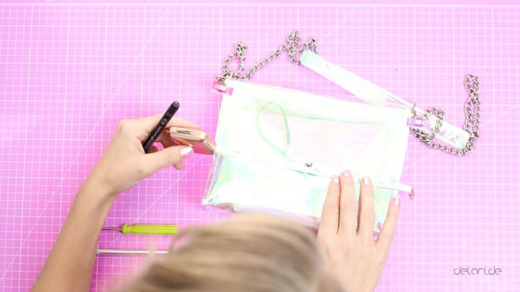Einhorntasche Holographisch Kunstofftasche PVCtasche Schnittmuster freebie nähen