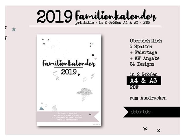 Familienkalender – Jahresplaner Familie – 2019 //delari