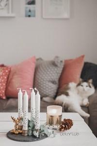 Adventskranz DIY weiß gold schwarz mit muffen