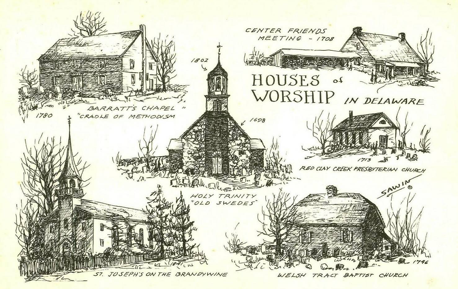 Early Churches of Delaware Post Card