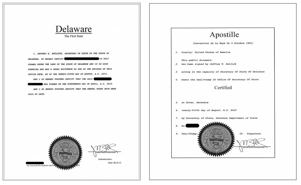 Delaware Certificate Of Good Standing