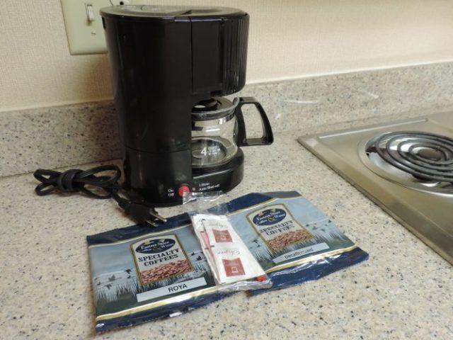 mini coffee maker at the Princess Royale