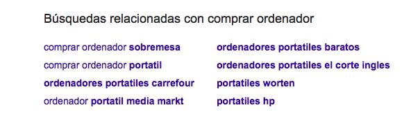 Google Instant búsquedas relacionadas