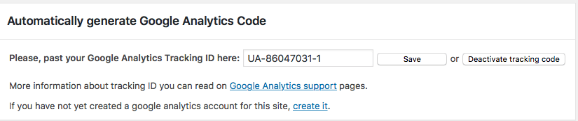Plugin ID de seguimiento Google Analytics