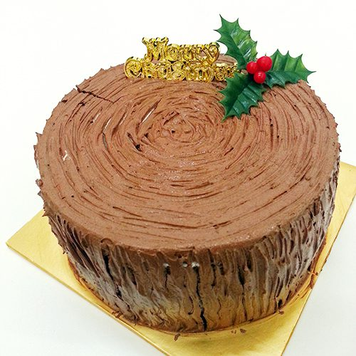 Christmas Log Cake Round Design Vegan
