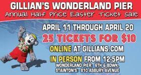 Gillian's Wonderland Pier Ocean City, NJ Annual 1/2  Price Ticket Sale 2014