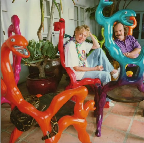 """This was the first batch of snake chairs I produced. These were donated by niki and sent to Basil Switzerland to be part of the restaurant in the new Jean Tinguely Museum. 27""""x27""""x53"""""""
